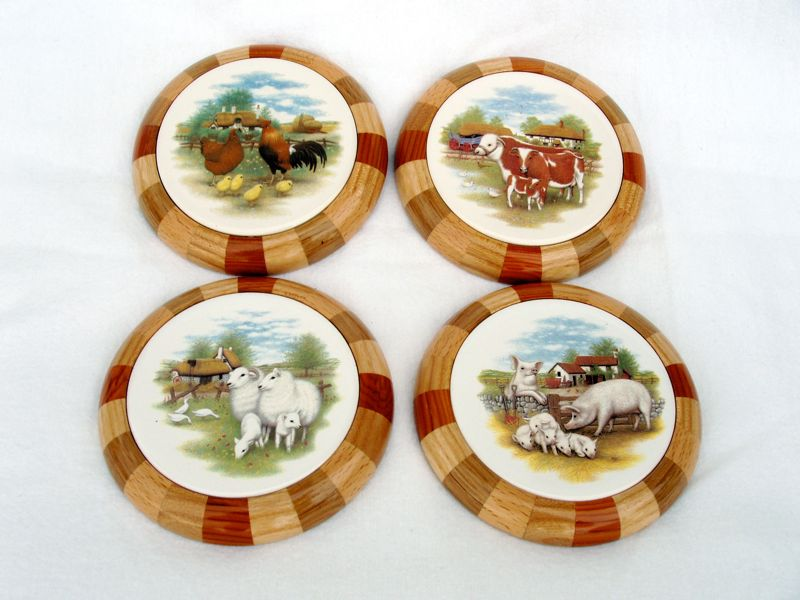 Set of 4 Coasters (Farm Animals)