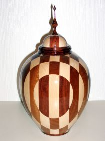 'Chequer Board' Staves Lidded Vessel